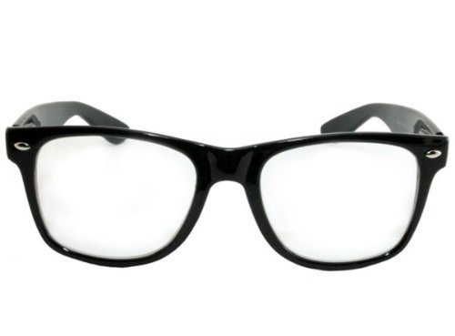 Retro Horned Rim Retro Classic Nerd Glasses Clear Lens (Black, - Nerd Glasses Costume