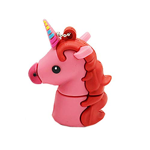 Novelty Pink Unicorn Shape Design 16GB USB 2.0 Flash Drive Cute Memory Stick Horse Thumb Drive Data Storage Pendrive Cartoon Jump Drive Gift