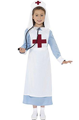 Smiffys Children's WW1 Nurse Costume, Dress, Mock Apron and Headpiece, Ages 7-9, Size: Medium, Color: Blue, (Civil War Nurse Costume)