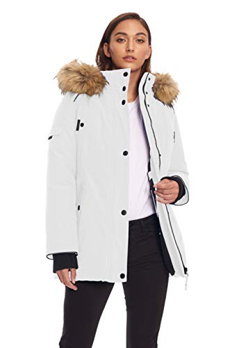 Alpine North Womens Vegan Down Parka Winter Jacket, White, ()