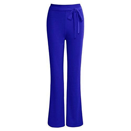Haute Pantalon Front Summer Oudan Slim Printemps Taille Fall Knot Bleu Filles Straight Bow Slacks Womens Work leg 4IZZ0nR