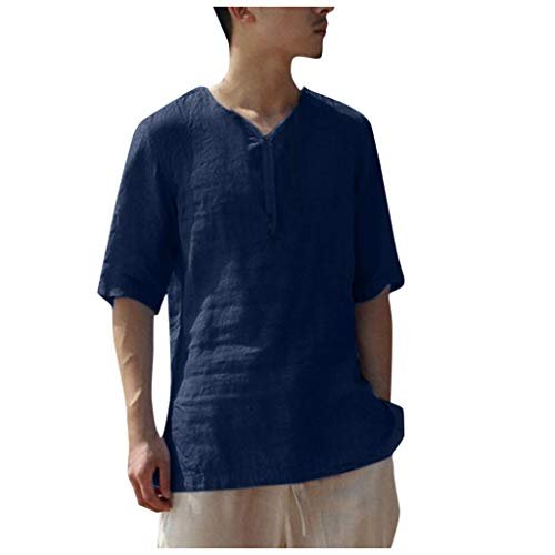 Nuewofally Mens Linen Henley Shirt Casual Short Sleeve T Shirt Pullovers Tees Retro Frog Button Cotton Shirts Beach Tops (Navy,M) ()