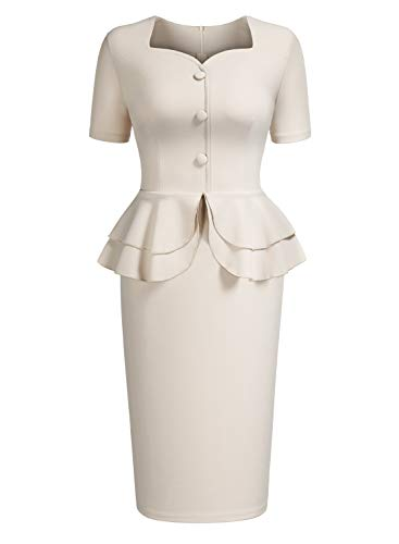 (AISIZE Women 1940s Vintage Sweetheart Ruffles Peplum Dress Medium Beige)