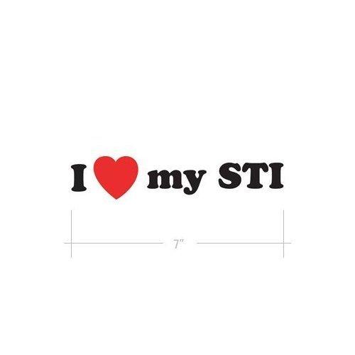 """(2x) 7"""" I Love my STI WRX Logo Sticker Vinyl Decals"""