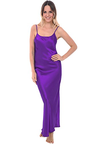 Alexander Del Rossa Womens Satin Nightgown, Full Length Camisole Chemise, Small Regency (A0778REGSM)