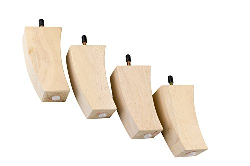 MJL Furniture Designs Medium Wooden Curved Style Square Bottom Replacement Sofa or Ottoman Threaded Leg (Set of 4), Nude, 5