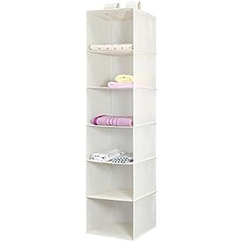 Hanging Closet Organizer, Magicfly 6-Shelf Hanging Clothes Storage Box Polypropylene Collapsible Hanging Shelves-for Clothes Storage and Accessories, Easy Mount, Beige