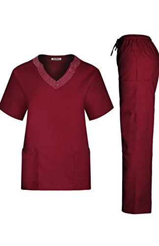 MedPro Women's Medical Scrub Set Rhinestone Neck and Cargo Pants Wine (Neck Rhinestone)