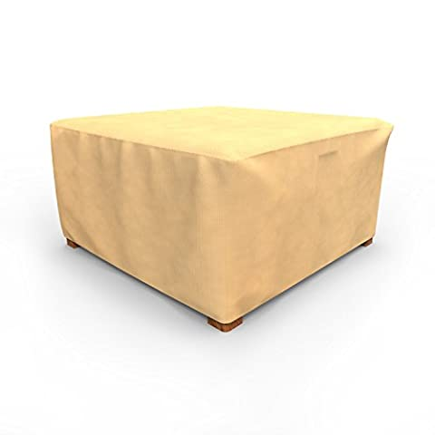 Budge All-Seasons Square Patio Table Cover / Ottoman Cover, Extra Large (Tan)