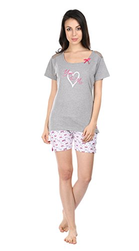 9803578a851 Women Girl Printed Grey Color Half Sleeve Top & Short Set - Night Suit -  Lounge Set - Night Dress - YOU & ME Printed on TOP Superior 100% Combed  Cotton ...
