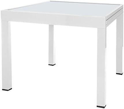 Table de jardin extensible 80/160 en aluminium blanc et ...