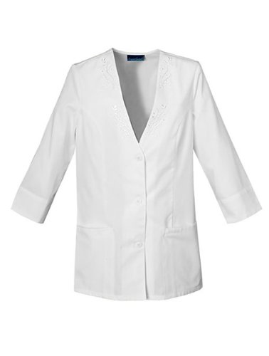 Cherokee Women's 3/4 Sleeve Embroidered Jacket, White, -