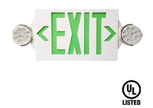 (6 Pack Supreme LED All LED Decorative Green White Exit Sign & Emergency Light Combo with Battery Backup (6 Pack))