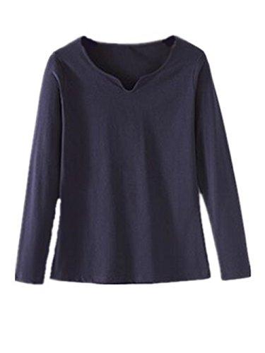 AILIENT T-Shirt Donna Maglietta V Collo Camicetta Tops Maniche Lunghe Puro Colore Camicia Casual Tops Eleganti Slim Blue