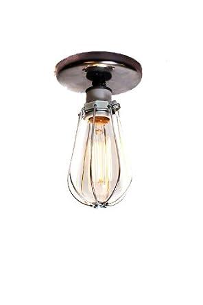industrial bare bulb caged light ceiling flush mount or. Black Bedroom Furniture Sets. Home Design Ideas