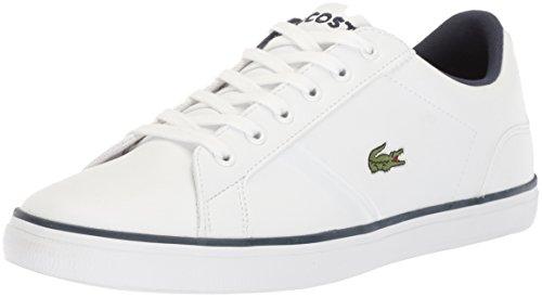 Lacoste Unisex-Kids Lerond Sneaker, White Navy Leather, 4 M US Big Kid