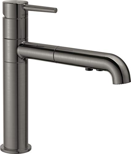 Delta Faucet 4159-KS-DST Single Handle Kitchen Faucet Pull-Out, Black Stainless ()