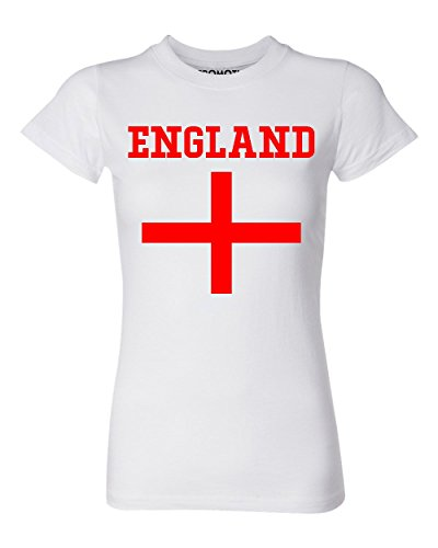 Promotion & Beyond Choose Your Country Flag England Women's T-Shirt, XL, White