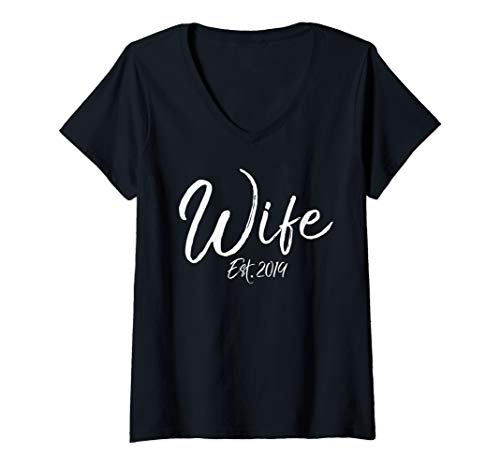 Womens Cute New Wife Wedding Gift from Husband Wife Est. 2019 V-Neck T-Shirt