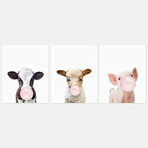 The Art Studio by Amy Peterson Farm Bubble Gum Animal 8x10 Print Set of 3 - Adorable Furry Baby Animal Portraits - Cow, Lamb, Pig - Nursery Decor - UNFRAMED ()