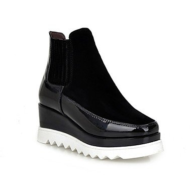 Desy de zapatos de mujer patente cuero tejido Otoño Invierno Novedad Moda Botas Botas cuña talón Square Toe Botines/tobillo botas Split Joint Gore para negro