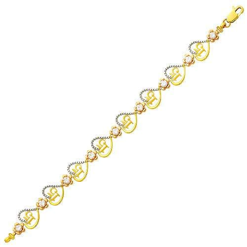 Wellingsale 14k Yellow Gold Polished 15 A/ños Bracelet with Lobster Claw Clasp 7.25