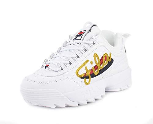 Fila White Shoes - Fila Womens Disruptor 2 Signature Script White Sneaker - 8.5
