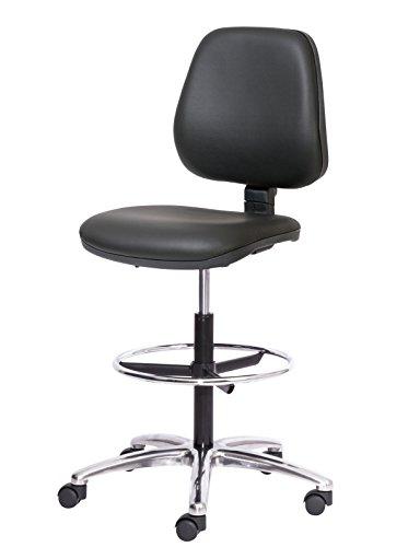 Topsit ind010201–Silla giratoria Asiento y Respaldo Acolchado con pie Cromado, Piel sintetica, Color Negro, 40x 43x 10