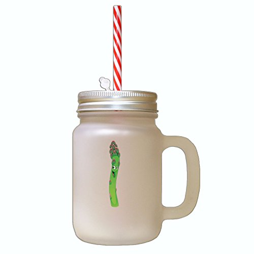 Asparagus With Face Frosted Glass Mason Jar with Straw