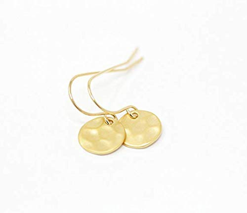 (Simple Gold Plated Hammered Disc Earrings)