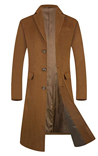 ELETOP Men's Trench Coat Wool Blend French Long Jacket Business Top Coat Single Breasted 1801 Camel S