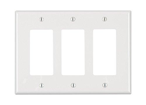 Gang Nylon Leviton Decora 3 (Leviton PJ263-W 3-Gang Decora/GFCI Decora Wallplate, Midway Size, White)