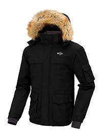 Wantdo Men's Waterproof Ski Jacket Parka with Detachable Fur Hood