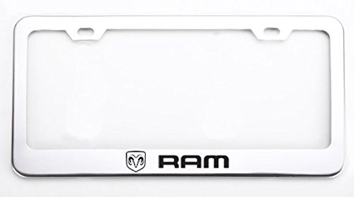Deselen Stainless Steel License Plate Frame for Dodge RAM with Screw Caps Cover Set, Silvery White/Chrome (2 Pieces Front/Back) LP-BS01RW