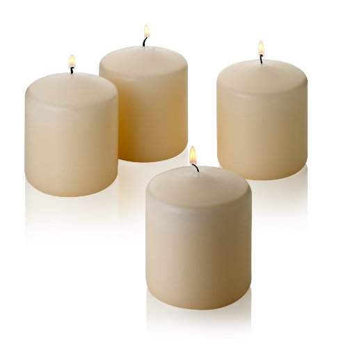 Light In The Dark Vanilla Pillar Candles - Set of 4 Unscented Candles - 3 inch Tall, 3 inch Thick - 18 hour Clean Burn Time