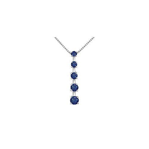 (Blue Sapphire Journey Pendant 14K White Gold 1.00 CT TGW)