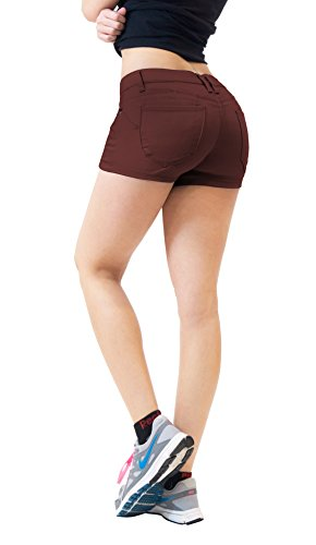 Womens+Butt+lifting+Twill+Denim+Shorts+SH43308+BROWN+11