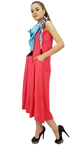 Pockets Rayon Women's Bimba Maxi with Dress with Solid Peach Designer Scarf Xq7CTq