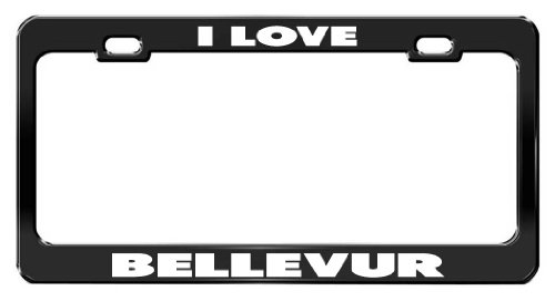 I LOVE BELLEVUR Black Metal Car Accessories License Plate Frame -  General Tag, BL_T I LOVE 1077