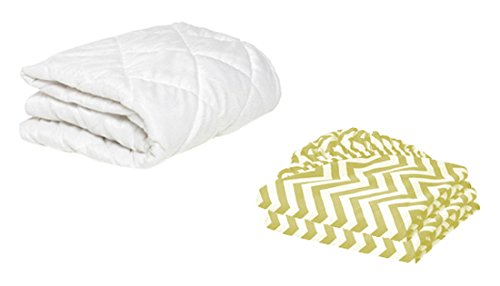 BKB Cradle Mattress Protector and 2 Gingham Sheets Combo, Yellow, 18 x 36