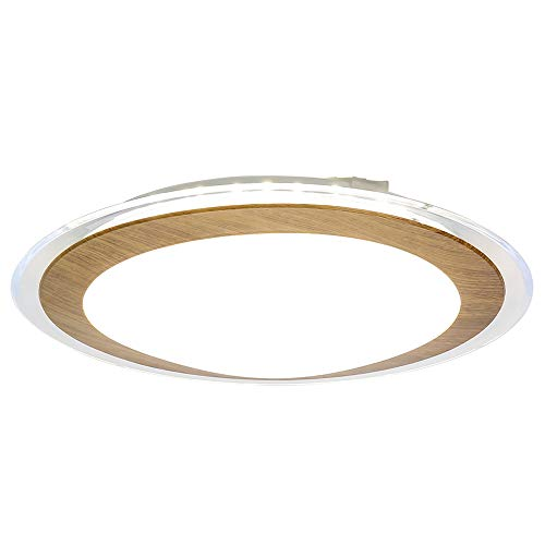 - Auffel LED Flush Mount Light,Minimalist Round Ceiling Light Oak Color Acrylic+Metal Dimmable Chandelier,1320ML13-Inch 4000K Neutral Light for Basement,Bathroom,Hallway,Bedroom,Kitchen