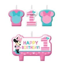 Minnie Mouse 1st Birthday Candles 4 count Party Supplies Minnie Fun to be One!