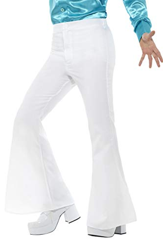 Mens White Disco Pants (Smiffy's Flared Trousers Man, White,)
