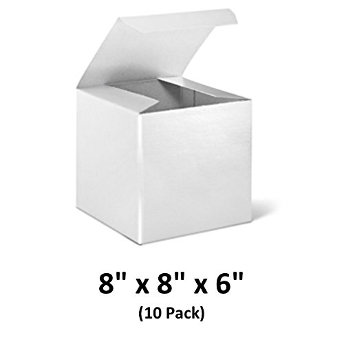 White Cardboard Tuck Top Gift Boxes with Lids, 8x8x6 (10 Pack) for Gifts, Crafting & Cupcakes | MagicWater Supply by MagicWater Supply