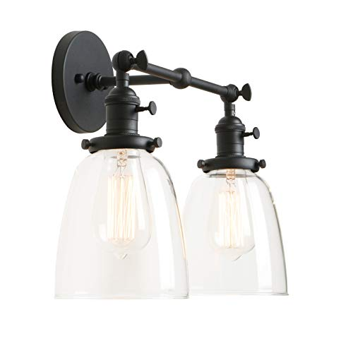 Permo Double Sconce Vintage Industrial Antique 2-Lights Wall Sconces with Oval Cone Clear Glass Shade (Black) (Light Cone Fixture)