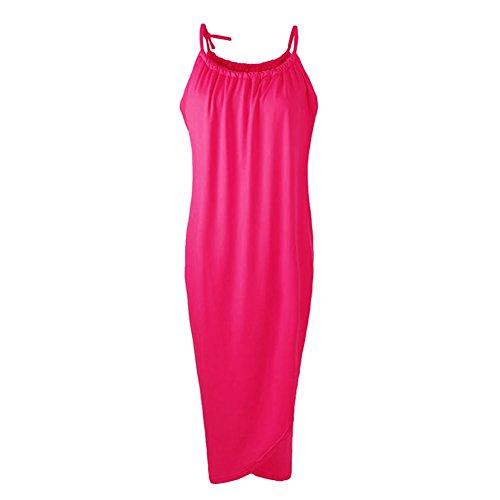 robe a echarpe fine - SODIAL(R) Nouveau femmeL robe a echarpe fine Ourlet irregulier Drape Maxi ROBE pour la fete plage Boho LundreLL LanL Ceinture Rose XL