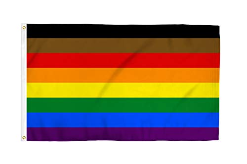 Philly Rainbow 3x5 Foot LGBTQ+ Pride Flag - Bold Vibrant Colors, UV Resistant, Golden Brass Grommets, Durable 100 Denier Polyester, Mighty-Locked Stitching - Perfect for Indoor or Outdoor Flying!