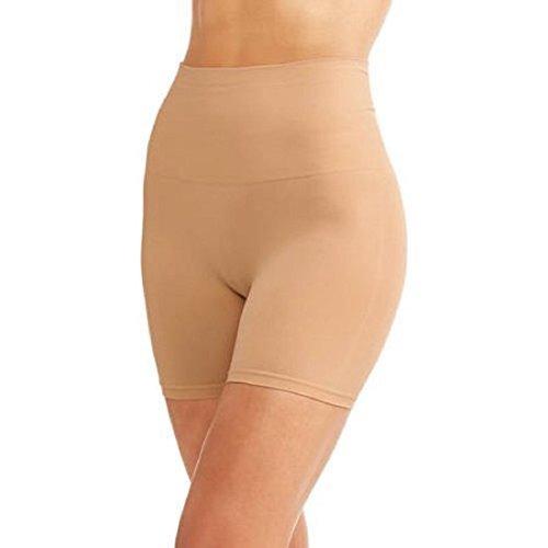 Life by Jockey Womens Slimming Short Shaping Seam Free Shorts Black Beige Ivory (Medium 8-10, Beige)