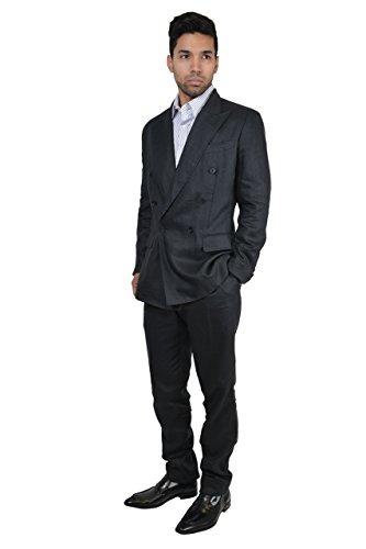Dolce-Gabbana-Mens-100-Hemp-Silk-Dark-Gray-Double-Breasted-Suit-US-38R-IT-48R