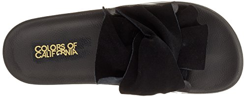 Black Upper Slipper of Noir Leather Bout Eva Bow Femme in Ouvert Colors california with Sandales SZY6Sx